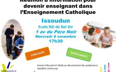 DEVENIR ENSEIGNANT – Réunion d'information – Mercredi 6 novembre – ISSOUDUN